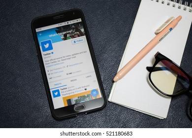 CHIANGMAI, THAILAND -NOV 23,2016:Smartphone open Twitter application,Twitter is an online social networking.