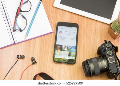 CHIANGMAI, THAILAND -NOV 30,2016:Smart phone open Instagram application, Instagram is most popular photograph social networking.