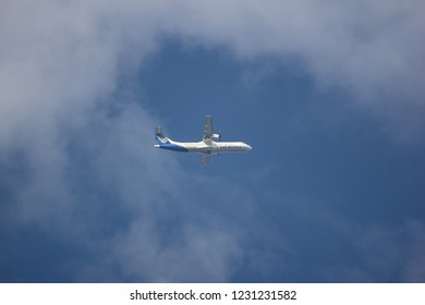 Chiangmai, Thailand - November 11 2018: RDPL-34174 ATR72-500 of Lao Airlines. In Flight Chiang mai to Luang Prabang.