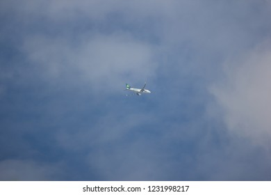 Chiangmai, Thailand - November 13 2018:  B-1670 Airbus A320-200 of Spring Airlines. Take off from Chiangmai to Shianghai.