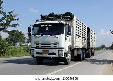 CHIANGMAI, THAILAND - NOVEMBER 14 2014: Trailer Truck of Chiangmai Kantha Transportation company. Photo at road no.121 about 8 km from downtown Chiangmai, thailand.