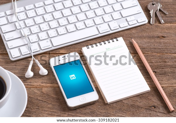 CHIANGMAI, THAILAND -November 15, 2015: Linkedin app. Linkedin is a social networking website for people in professional occupations.