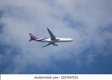 Chiangmai, Thailand - November 15 2018: HS-TBB  Airbus A330-300 of Thaiairway. Take off from Chiangmai airport to Bangkok.