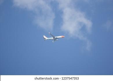 Chiangmai, Thailand - November 15 2018: HS-DBW  Boeing 737-800 of NokAir . Take off from Chiangmai airport to Bangkok.