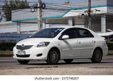 Chiangmai, Thailand - November 19 2019:  Private Sedan car Toyota Vios. On road no.1001 8 km from Chiangmai Business Area.