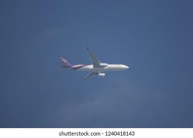 Chiangmai, Thailand - November 20 2018: HS-TBC  Airbus A330-300 of Thaiairway. Take off from Chiangmai airport to Bangkok.