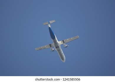 Chiangmai, Thailand - November 23 2018: RDPL-34176 ATR72-500 of Lao Airlines. In Flight Chiang mai to Luang Prabang.