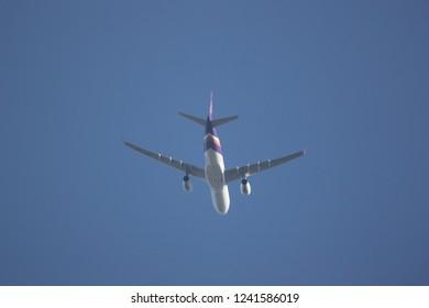 Chiangmai, Thailand - November 23 2018: HS-TES  Airbus A330-300 of Thaiairway. Take off from Chiangmai airport to Bangkok.