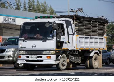 Chiangmai, Thailand -   November 23 2020: Private Hino Dump Truck. On road no.1001 8 km from Chiangmai Business Area.