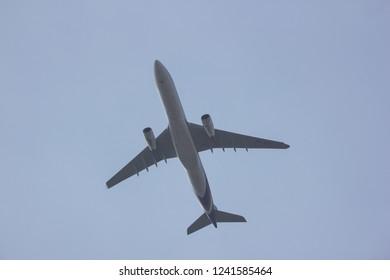 Chiangmai, Thailand - November 24 2018: HS-TET  Airbus A330-300 of Thaiairway. Take off from Chiangmai airport to Bangkok.
