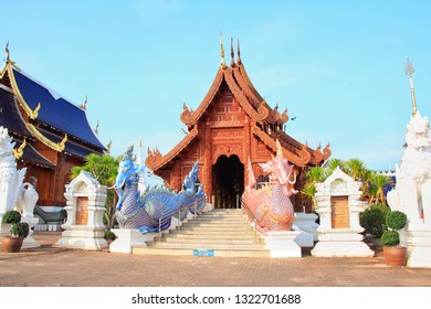CHIANGMAI, THAILAND - NOVEMBER -  24 : The golden teak roof is shaped like a serpent in front of the stairway decorated with a winged elephant on Chiangmai 24. 2018 in Chiangmai, Thailand