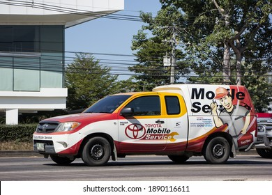 Chiangmai, Thailand -   November 27 2020: Mobile Service for Toyota Car. Photo at road no 121 about 8 km from downtown Chiangmai, thailand.