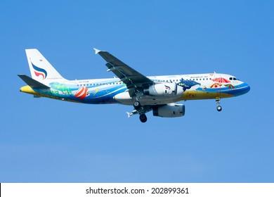 CHIANGMAI, THAILAND -NOVEMBER 29 2009: HS-PGW Airbus A320-200 of Bangkokairway airline , landing to Chiangmai airport from Bangkok Suvarnabhumi. thailand.