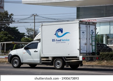 Chiangmai, Thailand -   November 30 2020:  Container truck of BS Food Service. Photo at road no.121 about 8 km from downtown Chiangmai thailand.