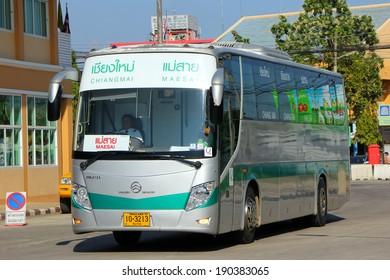 CHIANGMAI, THAILAND- NOVEMBER 4 2012: Golden Dragon Bus of Green bus Company. Between Chiangmai and Maesai ( Chiangrai province ). Photo at Chiangmai bus station, thailand.