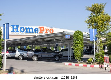 Chiangmai, Thailand - November 5 2018: Homepro  supermarket department store. Sale product and building construction. Location in sansai Urban fringe of chiangmai city.