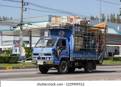 Chiangmai, Thailand - November 5 2018: Private Isuzu  Cargo Truck. Photo at road no.1001 about 8 km from downtown Chiangmai, thailand.