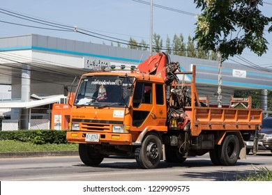 Chiangmai, Thailand - November 5 2018: Truck of Provincial eletricity Authority of Thailand. Photo at road no.1001 about 8 km from downtown Chiangmai, Thailand.