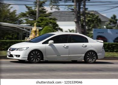 Chiangmai, Thailand - November 5 2018: Private Sedan Car from Honda Automobil, Honda Civic. On road no.1001 8 km from Chiangmai Business Area.