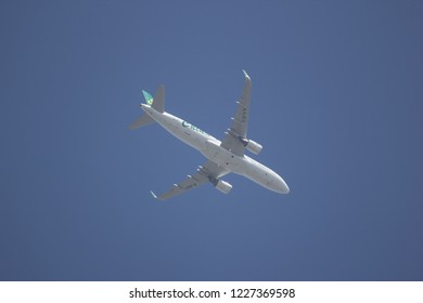 Chiangmai, Thailand - November 8 2018:  B-1657 Airbus A320-200 of Spring Airlines. Take off from Chiangmai to Shianghai.