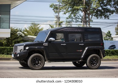 Chiangmai, Thailand - November 8 2018: Thairung tranformer, Sports Utility Vehicle design and build by thairung company. engine use toyota. Photo at road no.121 , 8 km from city Chiangmai, thailand.