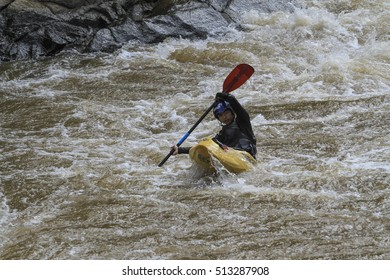 Chiangmai, Thailand - November 9, 2016:Tourists paddle Kayak exercises  river in Mae Taeng district of Chiang Mai. Chiang Mai, Thailand.