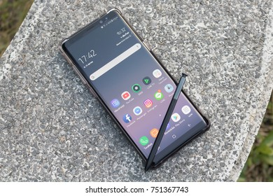 CHIANGMAI, THAILAND -OCT 21,2017:Samsung Galaxy Note8.New smartphone form Samsung.