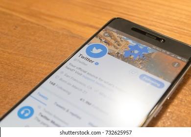 CHIANGMAI, THAILAND -OCT 8,2017:Smartphone open Twitter application,Twitter is an online social networking.