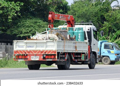 CHIANGMAI, THAILAND -OCTOBER 10 2014: Truck with crane of Kulwhatthana. Photo at road no.121 about 8 km from downtown Chiangmai, thailand.