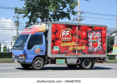 CHIANGMAI, THAILAND -OCTOBER  17 2015:  Container truck of FF company. Photo at road no.121 about 8 km from downtown Chiangmai, thailand.