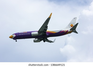 Chiangmai, Thailand - October 2 2012: HS-DBA Boeing 737-800 of NokAir ( Low-cost Airline ), Landing to Chiangmai airport from Bangkok Don Muang Airport.