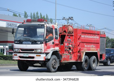 CHIANGMAI, THAILAND -OCTOBER  20 2015:   Fire truck of Muang Kaew Subdistrict Administrative Organization. Photo at road no 121 about 8 km from downtown Chiangmai, thailand.