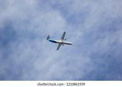 Chiangmai, Thailand - October 22 2018: RDPL-34173 ATR72-500 of Lao Airlines. In Flight Chiang mai to Luang Prabang.