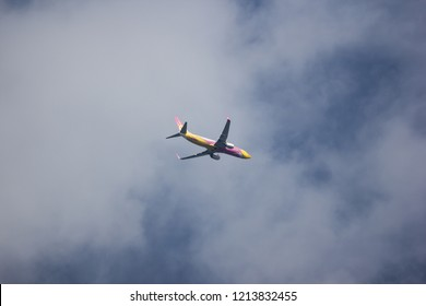 Chiangmai, Thailand - October 23 2018: HS-DBS Boeing 737-800 of NokAir . Take off from Chiangmai airport to Bangkok.