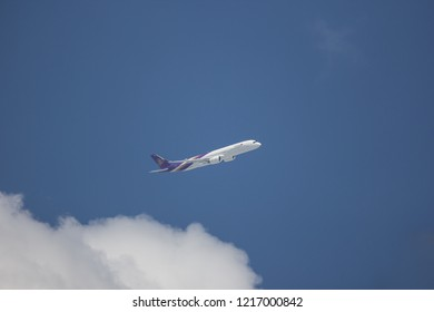 Chiangmai, Thailand - October 26 2018: HS-THH Airbus A350-900 of Thaiairway TG105. Take off from Chiangmai airport to Bangkok.