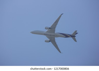 Chiangmai, Thailand - October 27 2018: : HS-THJ Airbus A350-900 of Thaiairway TG105. Take off from Chiangmai airport to Bangkok.