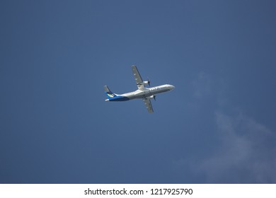 Chiangmai, Thailand - October 28 2018:  RDPL-34225 ATR72-600 of Lao Airlines. In Flight Chiang mai to Luang Prabang.