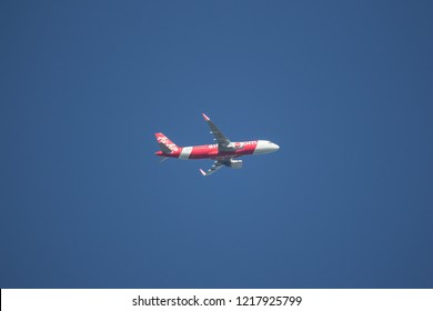 Chiangmai, Thailand - October 28 2018:  9M-RAC Airbus A320-200N Neo of Airasia. Take off from Chiangmai airport to Kuala lumpur, Malaysia.