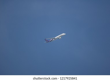 Chiangmai, Thailand - October 28 2018: HS-THH Airbus A350-900 of Thaiairway TG105. Take off from Chiangmai airport to Bangkok.