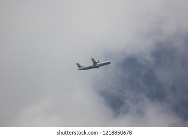 Chiangmai, Thailand - October 30 2018: HS-PGM ATR 72-500 of Bangkok airway ,Take off from Chiangmai airportto Mandalay.