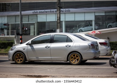 Chiangmai, Thailand -  October 4 2019:  Private Sedan car Toyota Vios. On road no.1001 8 km from Chiangmai Business Area.