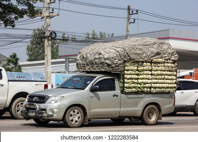 Chiangmai, Thailand - October 5 2018: Private Toyota Hilux Vigo  Pickup Truck.  On road no.1001 8 km from Chiangmai city.