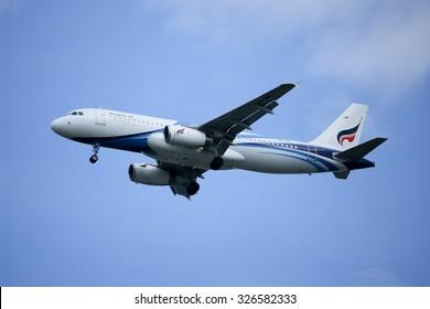 CHIANGMAI, THAILAND -OCTOBER  7 2015: HS-PPJ Airbus A320-200 of Bangkokairway airline, landing to Chiangmai airport from Bangkok Suvarnabhumi. thailand.