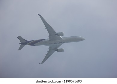 Chiangmai, Thailand - October 7 2018: HS-THH Airbus A350-900 of Thaiairway TG105. Take off from Chiangmai airport to Bangkok.