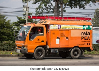 Chiangmai, Thailand - October 8 2018: Truck of Provincial eletricity Authority of Thailand. Photo at road no.1001 about 8 km from downtown Chiangmai, Thailand.