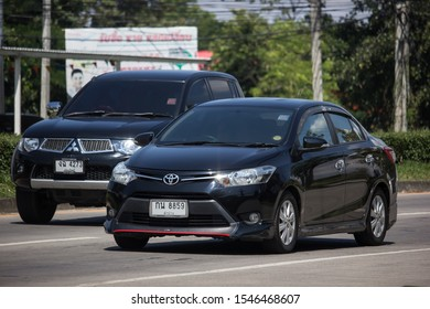 Chiangmai, Thailand -  October 8 2019:  Private Sedan car Toyota Vios. On road no.1001 8 km from Chiangmai Business Area.