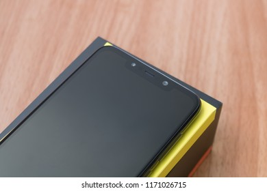 CHIANGMAI, THAILAND -SEP 1,2018:New smartphone POCOPHONE F1 Master of speed by xiaomi unboxing,high performance smartphone with low price.Notch bar and front camera.