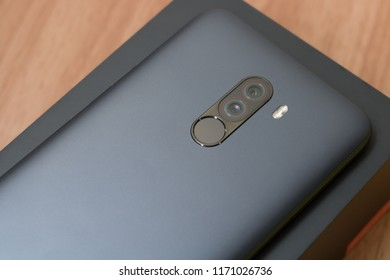 CHIANGMAI, THAILAND -SEP 1,2018:New smartphone POCOPHONE F1 Master of speed by xiaomi unboxing,high performance smartphone with low price.Back camera and  fingerprint.