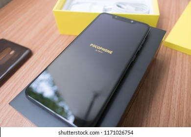 CHIANGMAI, THAILAND -SEP 1,2018:New smartphone POCOPHONE F1 Master of speed by xiaomi unboxing,high performance smartphone with low price.