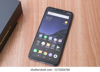 CHIANGMAI, THAILAND -SEP 1,2018:New smartphone POCOPHONE F1 Master of speed by xiaomi unboxing,high performance smartphone with low price.Front view and screen.